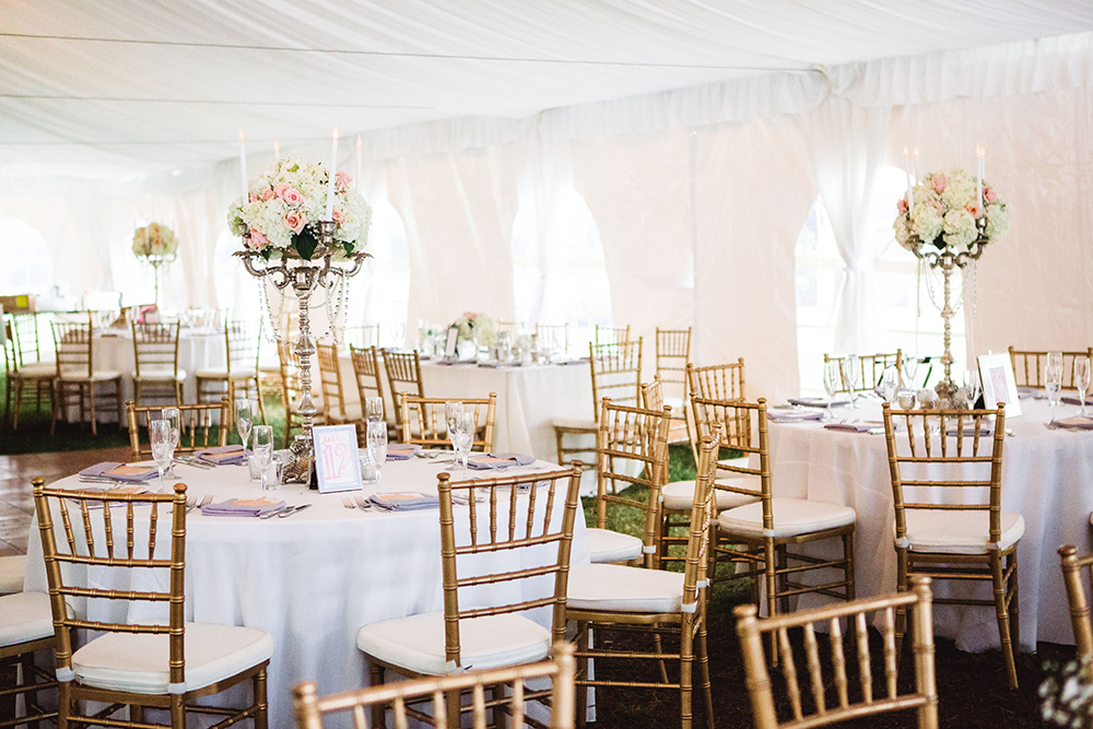 Cypress Grove Estate House, Tented Reception, White Wedding Decor, Orlando Wedding Venues, Central Florida Wedding Venues, Lakeside Wedding, Outdoor Wedding, Elegant Wedding, gold chiavari chairs, gold and white reception,