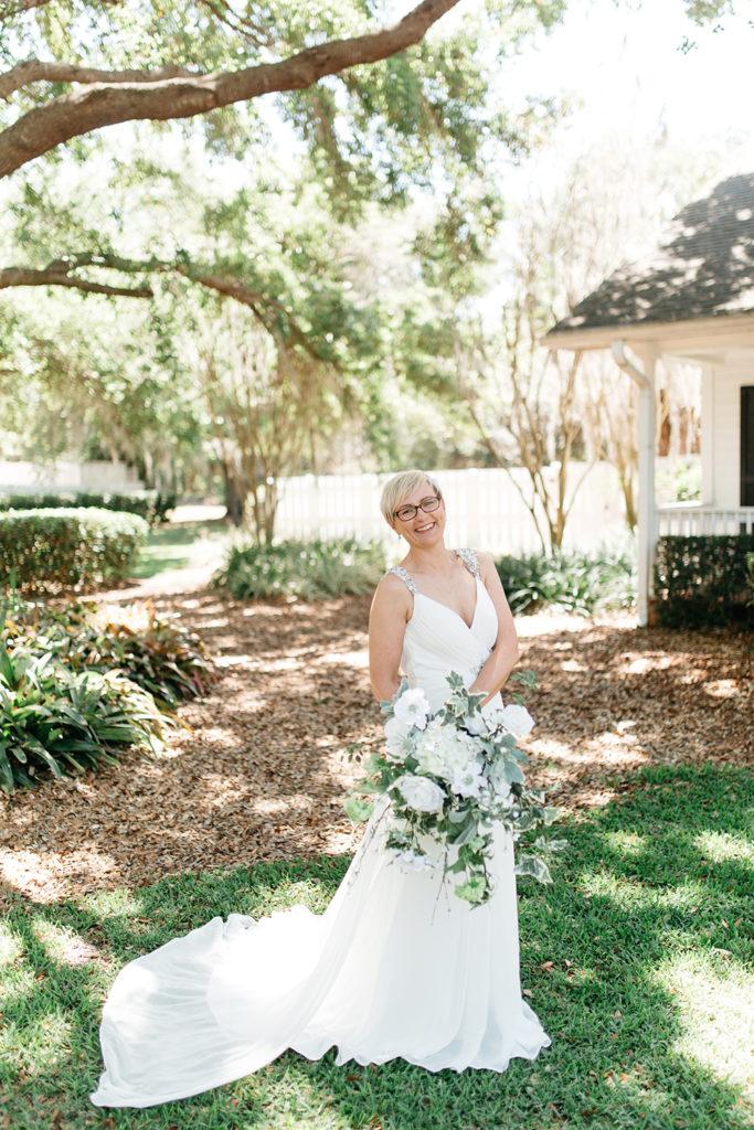 Cypress Grove Estate House, Orlando Wedding, Lakeside Wedding, Bridal Gown, Outdoor Wedding, Central Florida Wedding Venues, Intimate Wedding, Destination Wedding, White Wedding Bouquet, Bridal Portraits