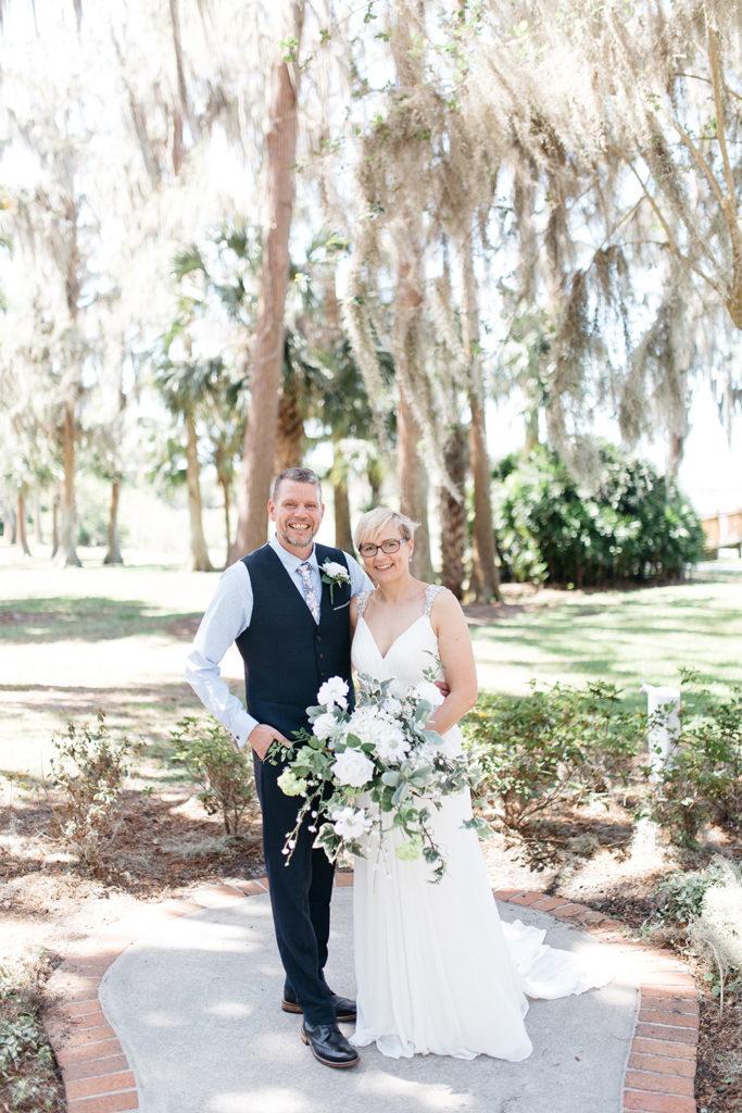 Cypress Grove Estate House, Orlando Wedding, Lakeside Wedding, Bridal Gown, Outdoor Wedding, Central Florida Wedding Venues, Intimate Wedding, Destination Wedding, White Wedding Bouquet, Bride and Groom Photos