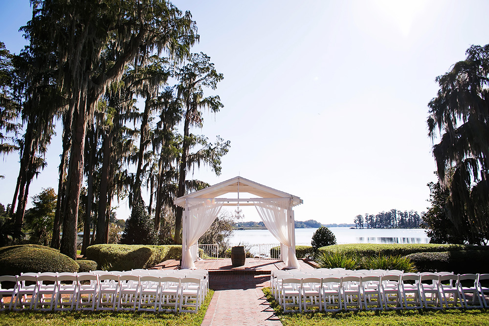 Cypress Grove Estate House, Orlando Wedding Venues, Central Florida Wedding Venues, Lakeside Wedding, Outdoor Wedding, Southern Wedding, Rustic Wedding, Cypress Trees, Spanish Moss, White Gazebo Draping, Ceremony Gazebo, Barrel Table, Chandelier