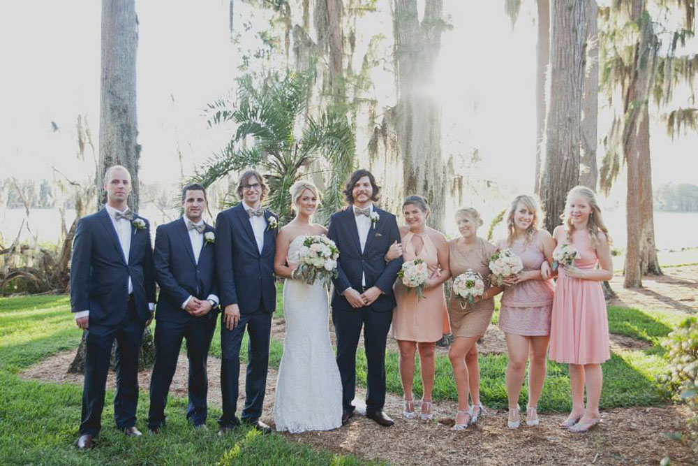 Cypress Grove Estate House, Orlando Wedding, Lakeside Wedding, Bridal Gown, Outdoor Wedding, Central Florida Wedding Venues, Pink Bridesmaid Dresses, Spanish Moss, Southern Wedding