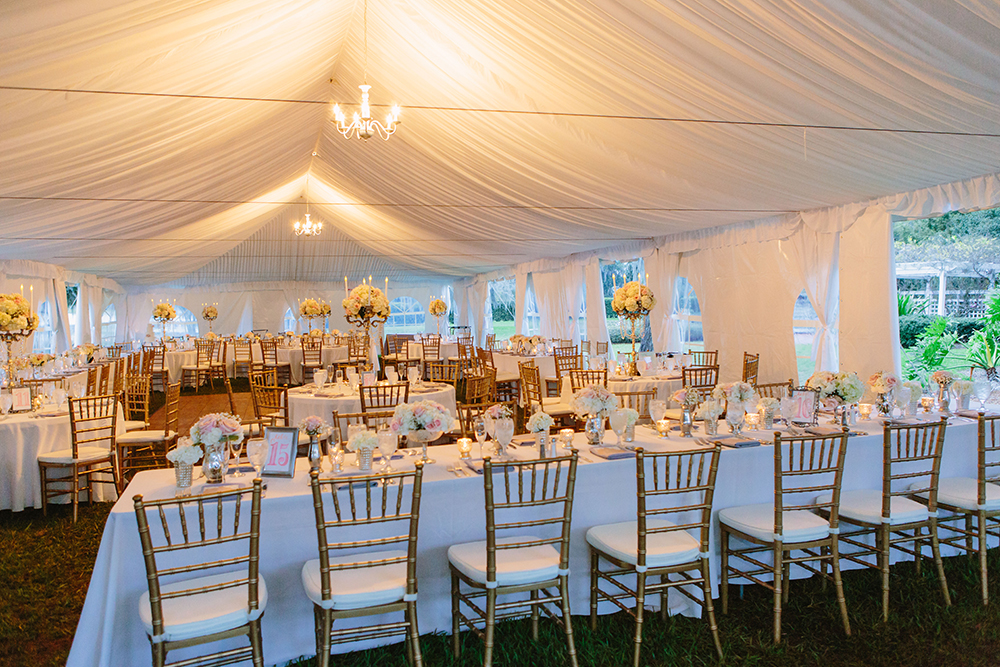 Cypress Grove Estate House, Tented Reception, White Wedding Decor, Orlando Wedding Venues, Central Florida Wedding Venues, Lakeside Wedding, Outdoor Wedding, Elegant Wedding, Chandelier, White Draping, Gold Chiavari Chairs, Feasting table,