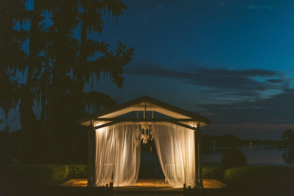 Cypress Grove Estate House, Orlando Wedding Venues, Central Florida Wedding Venues, Lakeside Wedding, Outdoor Wedding, Southern Wedding, Rustic Wedding, Ceremony Draping, Seashell Chandeliers, Spanish Moss, Cypress Trees
