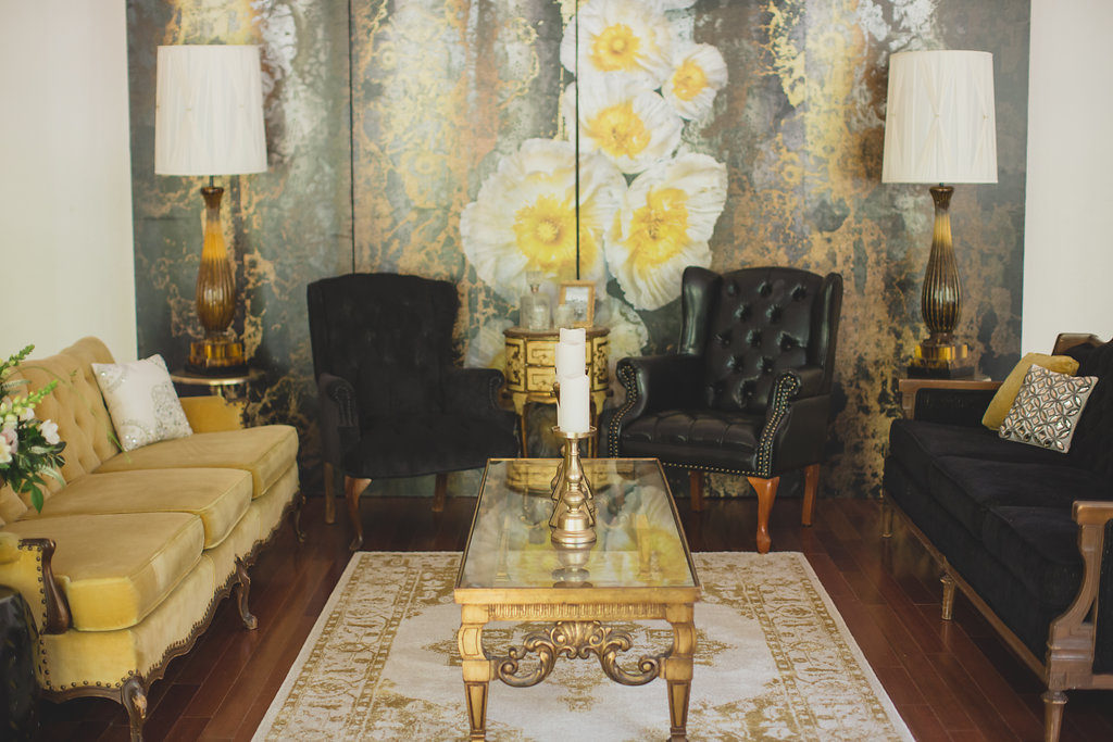 Specialty rentals Orlando,  Vintage rentals Orlando,  Florida vintage rentals,  RW Style, Wedding stylist, RW Events,orlando wedding stylist, orlando wedding designer, Noir, Leather Armchair, Custom Backdrop, Taylor, Gold end table, Marigold, Sunflower, tufted sofa, Glam Pillow Collection