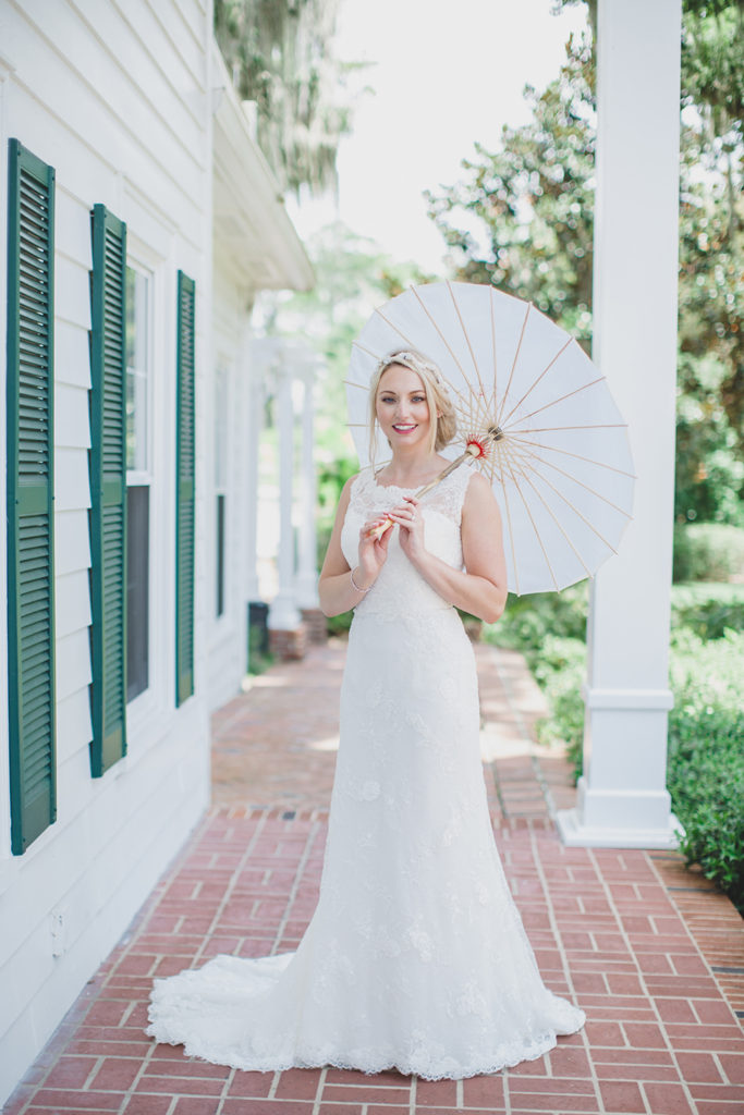 Cypress Grove Estate House, Orlando Wedding Venues, Central Florida Wedding Venues, Lakeside Wedding, Outdoor Wedding, Elegant Wedding, Southern Wedding, Destination Wedding, Intimate Wedding, Bridal Portraits, White Paper Umbrella, Lace Bridal Gown