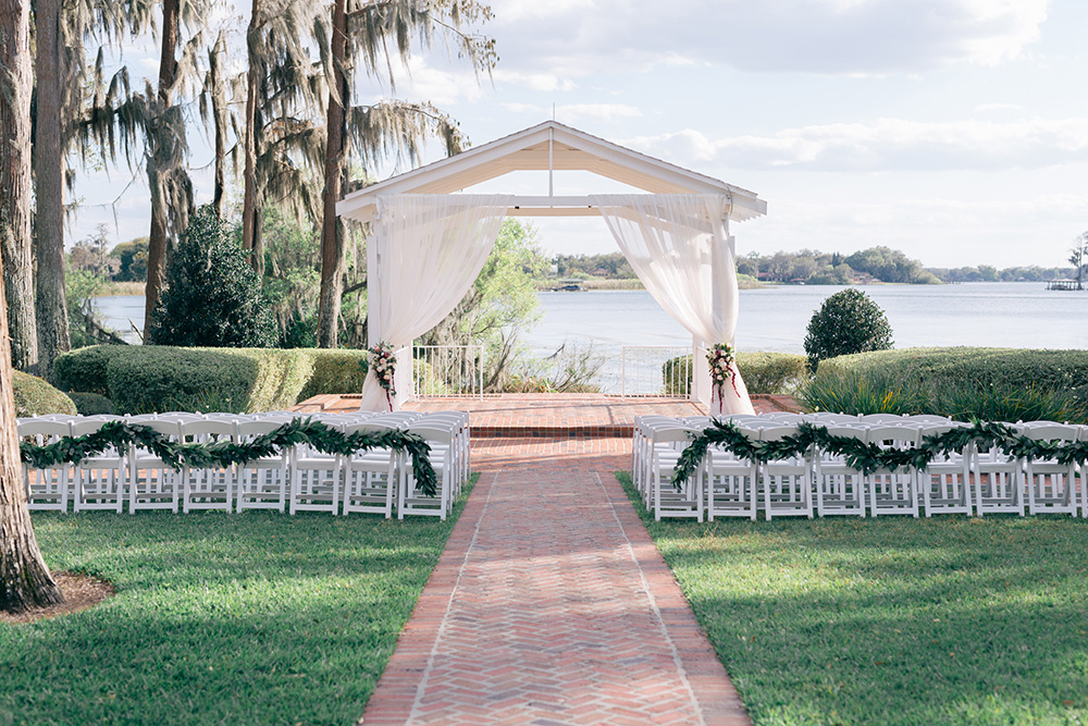 Cypress Grove Estate House, Orlando Wedding Venues, Central Florida Wedding Venues, Lakeside Wedding, Outdoor Wedding, Southern Wedding, Rustic Wedding, white draping, ceremony gazebo, ceremony garland, chair garland, white ceremony chairs