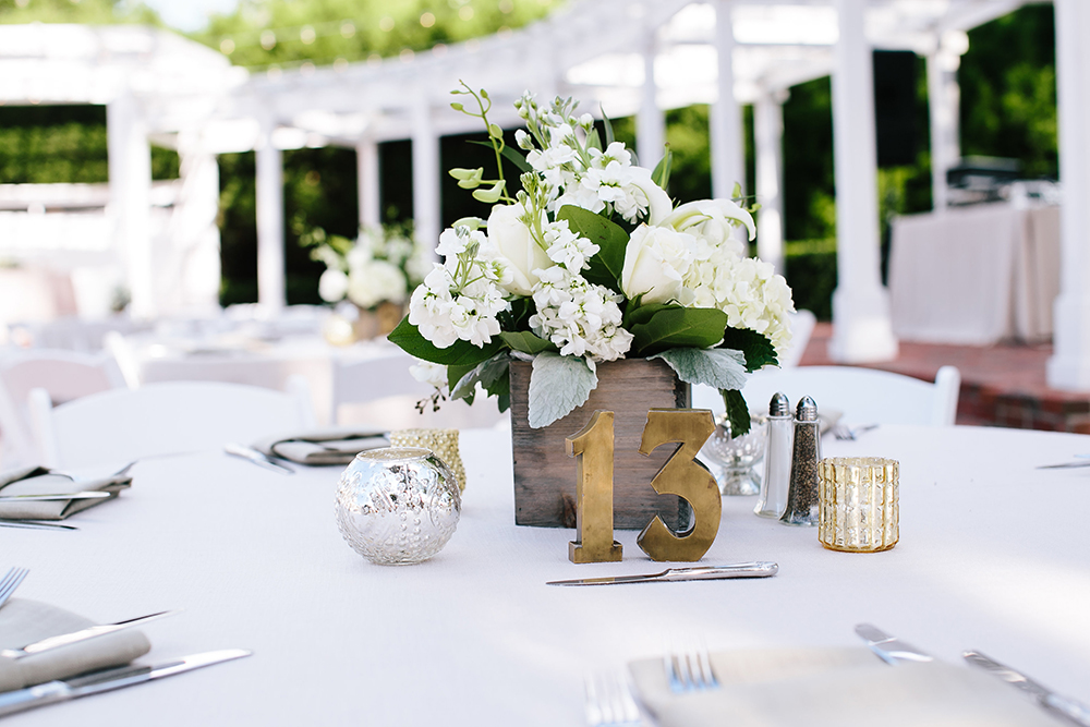 Cypress Grove Estate House, Outdoor Wedding, Lakeside Wedding, Central Florida Wedding Venues, Orlando Wedding Venues, rustic wedding decor, gold votives, stock centerpieces, white roses and hydrangea centerpieces, white linen, grey linen napkins