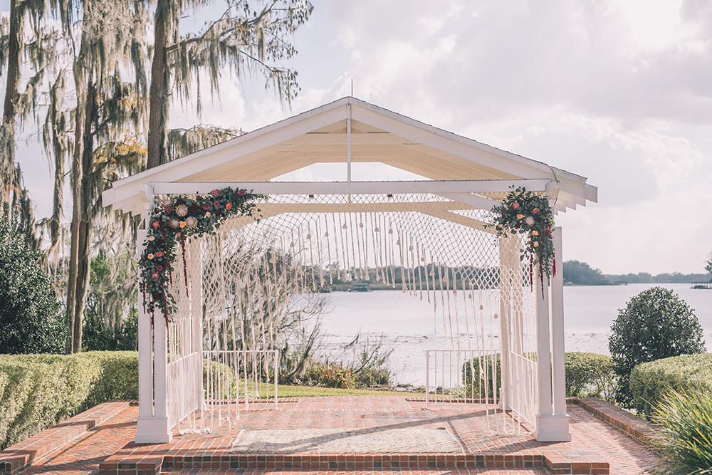Cypress Grove Estate House, Orlando Wedding Venues, Central Florida Wedding Venues, Lakeside Wedding, Outdoor Wedding, Southern Wedding, Rustic Wedding, Spanish Moss, Cypress Trees, White ceremony chairs, gazebo ceremony, boho wedding, bohemian wedding, macrame ceremony decor