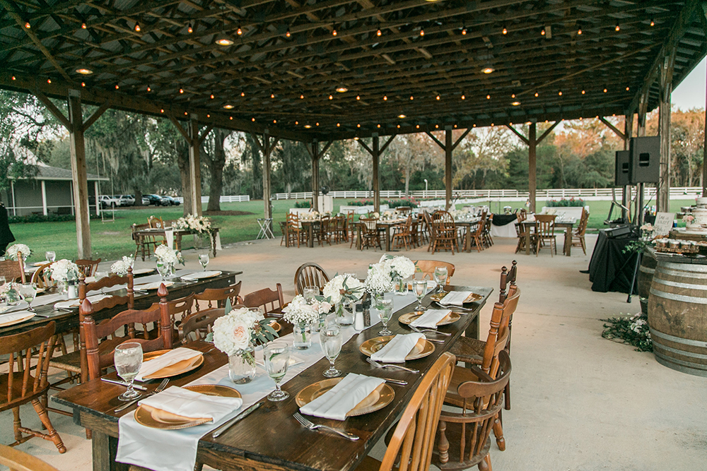 RW Events, Orlando Wedding Stylist, Orlando Wedding Designer, Vintage Rentals, Orlando Vintage Rentals,  Outdoor Wedding, Mismatched Chairs, Outdoor Reception, Farm Wedding, Gregory Farm Tables, Table Runners, White Wedding Flowers, gold chargers, Gregory Farm Table
