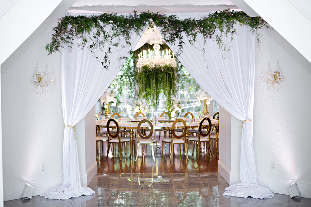 draping, luxury venue, luxury event, rw events, gold louis chairs, event rentals, luxmore grande estate, luxury reception, indoor reception, private event, gold wedding decor, orlando wedding stylist, orlando vintage rentals, white draping, garland