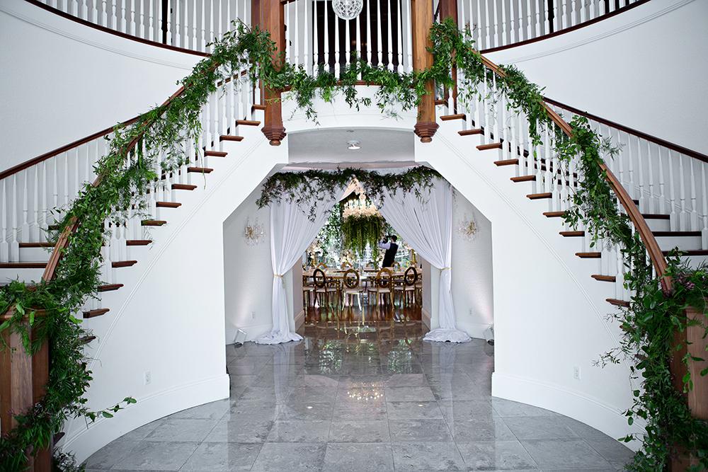 Grand Staircase Twin Orlando Luxury Wedding Venue Indoor Greenery Decor