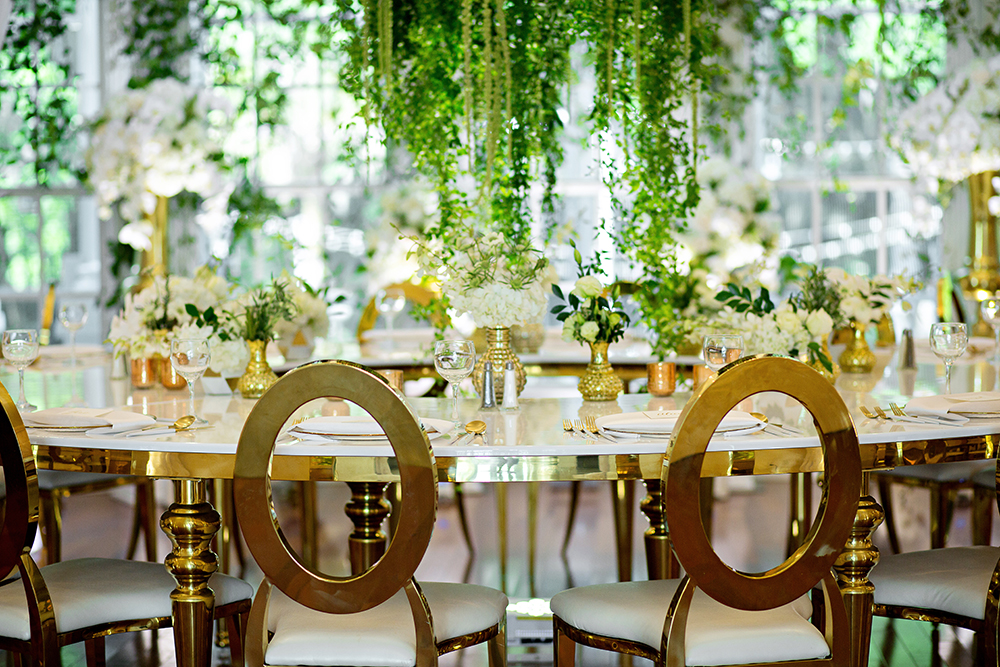 draping, luxury venue, luxury event, rw events, gold louis chairs, event rentals, luxmore grande estate, luxury reception, indoor reception, private event, gold wedding decor, orlando wedding stylist, orlando vintage rentals, tablescapes