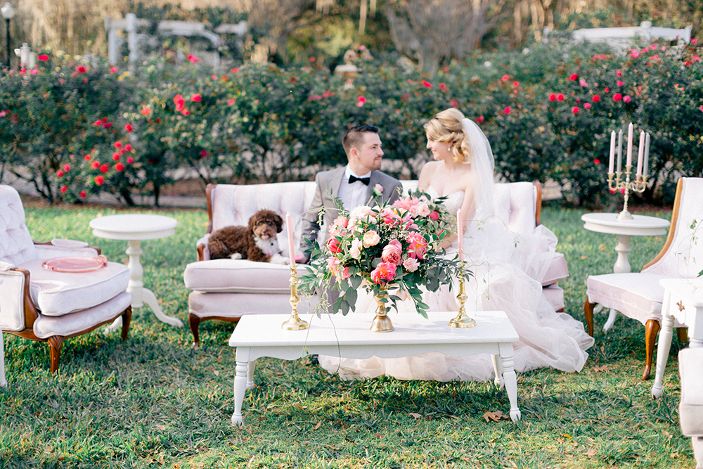 RW Events, Event Designer, Vintage Rentals. Orlando Vintage Rentals, Wedding Floral, Cypress Grove Estate House, Central Florida Wedding Venue, Spring Wedding, Pink Wedding Decor, Bride and Groom Photos, Seating Lounge, Dog Ring Bearer, Blush Wedding Decor