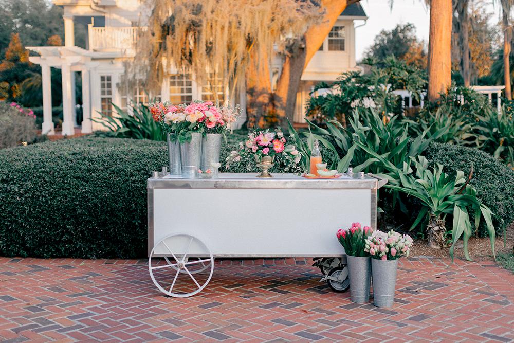 RW Events, Event Designer, Vintage Rentals. Orlando Vintage Rentals, Wedding Floral, Custom Beverage Cart, Sunset Wedding, Spring Wedding Decor, Orlando Wedding Stylist, Orlando Wedding Designer, Cocktail Hour Ideas