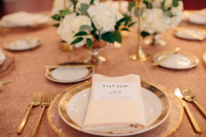 Luxmore Grande Estate, Central Florida Wedding Venue, Orlando Wedding Venue, Luxury Orlando Wedding, Ballroom Wedding, Wedding Floral, Glass Chargers, Gold Wedding Details, menu cards, gold flatware, fine china, custom linen, over the top linen rentals, orlando linen rentals, shalimar gold lnen, white centerpieces, orlando wedding stylist, orlando wedding designer
