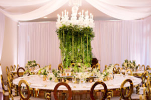 draping, luxury venue, luxury event, rw events, gold louis chairs, event rentals, luxmore grande estate, luxury reception, indoor reception, private event, gold wedding decor, orlando wedding stylist, orlando vintage rentals, ballroom draping, ceiling draping, hanging floral, chandelier