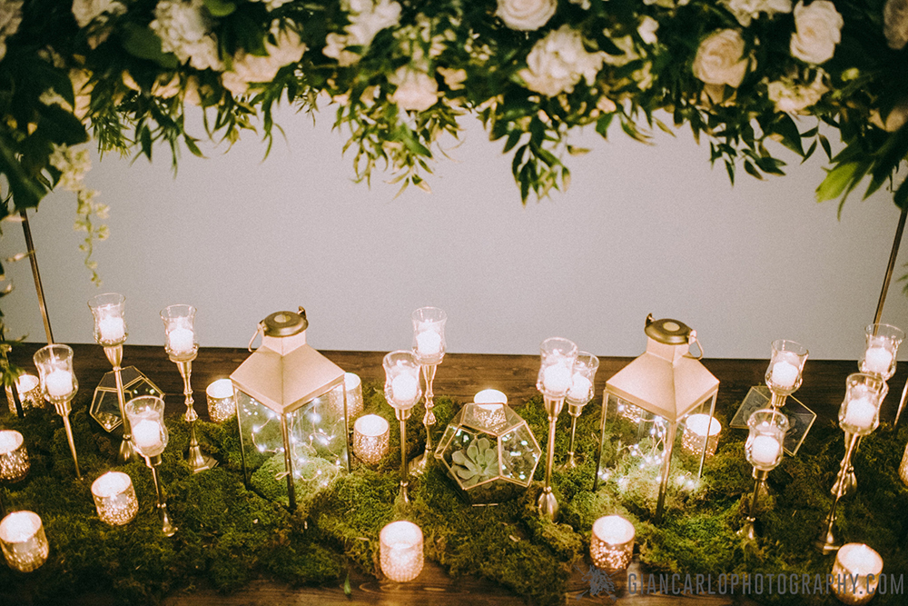 Orlando Event Stylist, Orlando Event Designer, Orlando Wedding, Rustic Wedding, Modern Wedding, Succulents, gold lanterns, fairy lights, white roses, RW Events, Orlando Wedding Rentals