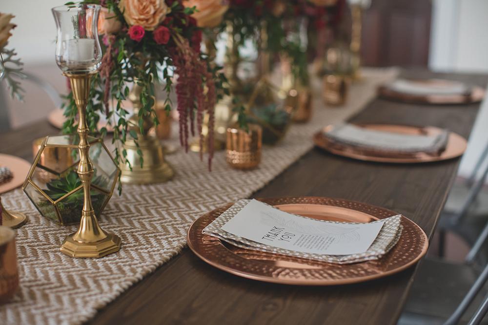 Orlando Event Stylist, Orlando Event Designer, Orlando Wedding, Rustic Wedding, Modern Wedding, Copper Chargers, Gold wedding decor, succulents, thank you cards, RW Events, Orlando Wedding Rentals