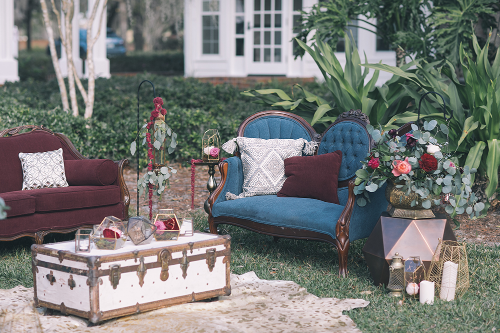 Specialty rentals Orlando,  Vintage rentals Orlando,  Florida vintage rentals,  RW Style, Wedding stylist, RW Events, orlando wedding designer, orlando wedding stylist, styled social lounge vignette, berry sofa, canton sofa, pirate trunk, copper wedding details, felicity table