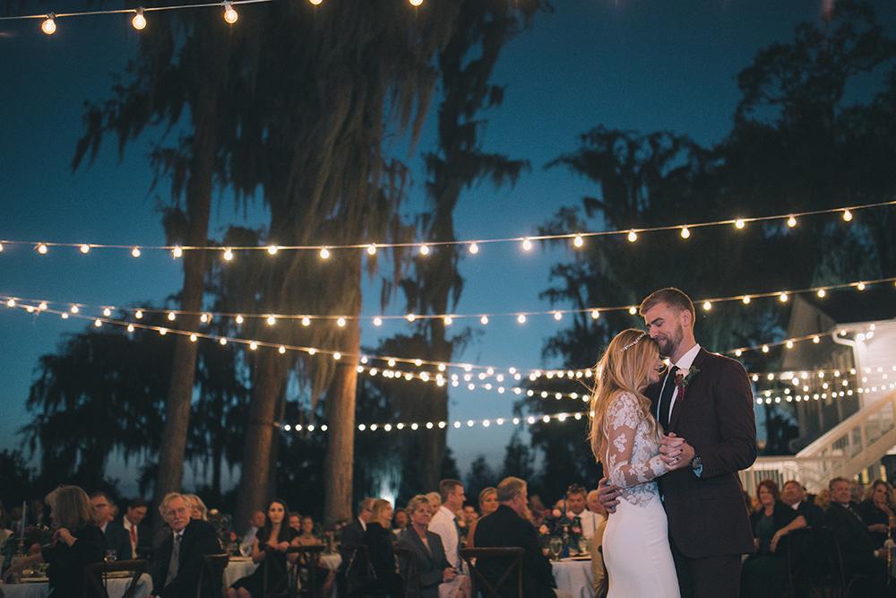 Cypress Grove Estate House, Outdoor Wedding, Lakeside Wedding, Central Florida Wedding Venues, Orlando Wedding Venues, Bride and Groom Photos, First Dance, market lighting, boho wedding, bohemian wedding. lace bridal gown