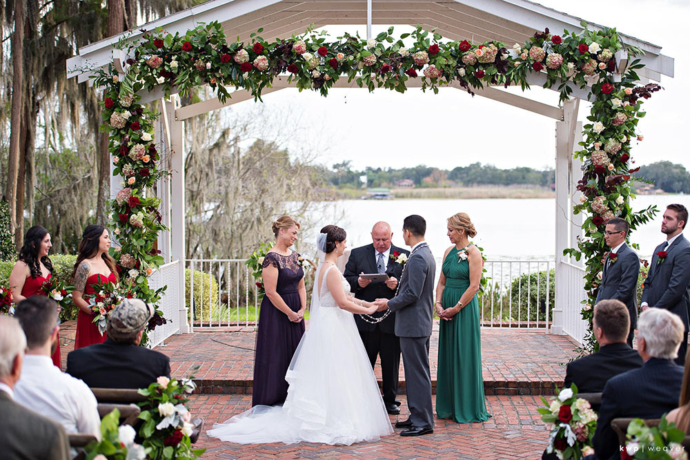 Cypress Grove Estate House, Orlando Wedding Venues, Central Florida Wedding Venues, Lakeside Wedding, Outdoor Wedding, Southern Wedding, Rustic Wedding, Ceremony Gazebo, French Country Chairs, Floral Garland, Red and Pink Wedding Decor, Ceremony Chair Decor, Garden Wedding