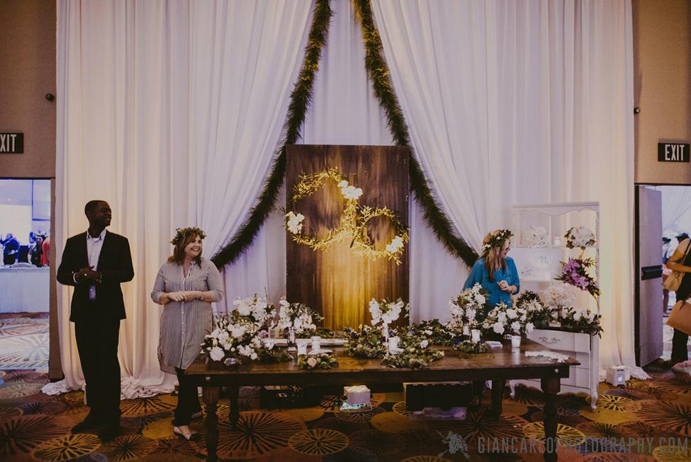 RW Events, Orlando Vintage Rentals, Vintage Rentals, Central Florida Wedding, Flowers by Lesley, Flower Crowns, Bridesmaid Floral Crowns, Bridal Floral Crown, Custom Floral, Orlando Wedding Designer, Orlando Wedding Stylist, RW Events, Caroline Farm Table, Custom Backdrop, White Dresser, Floral Design