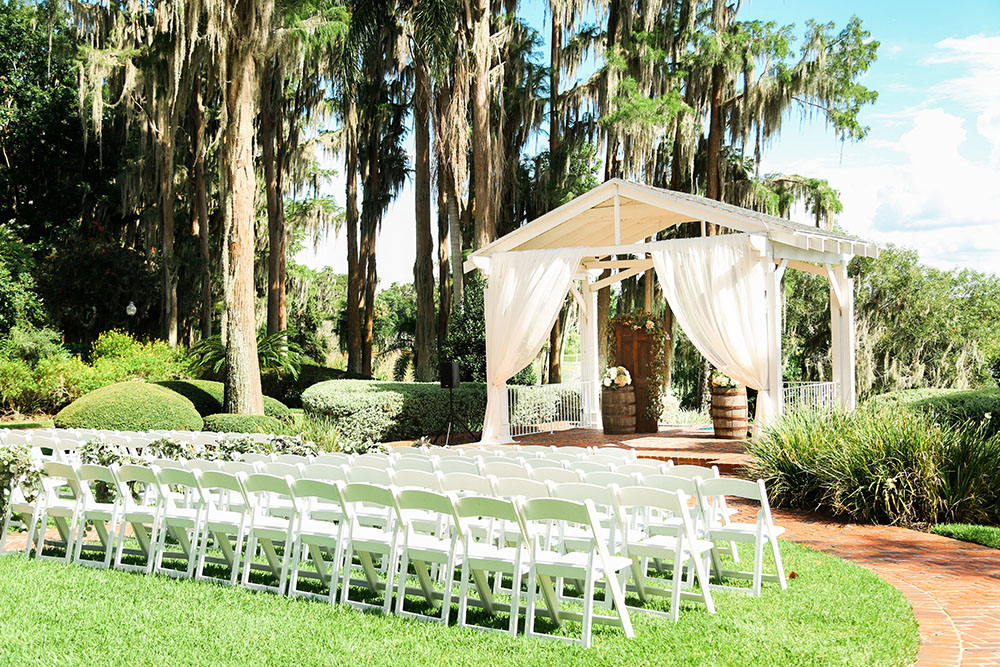 Cypress Grove Estate House, Orlando Wedding Venues, Central Florida Wedding Venues, Lakeside Wedding, Outdoor Wedding, Southern Wedding, Rustic Wedding, Barrel Ceremony Decor, Custom Ceremony Backdrop, White Ceremony Draping, Gazebo Draping, White Ceremony Chairs, Spanish Moss, Cypress Trees