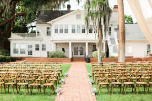 Cypress Grove Estate House, Orlando Wedding Venues, Central Florida Wedding Venues, Lakeside Wedding, Outdoor Wedding, Elegant Wedding, Southern Wedding, French Country Chairs, Ivory Draping, Ceremony Aisle Decor