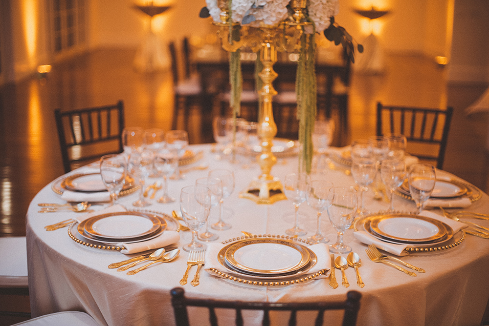 luxury reception, gold belmont charger, gold flatware, ballroom reception, luxury wedding, RW Events, Orlando Wedding Stylist, Orlando Wedding Designer, Orlando Vintage Rentals, Fine China