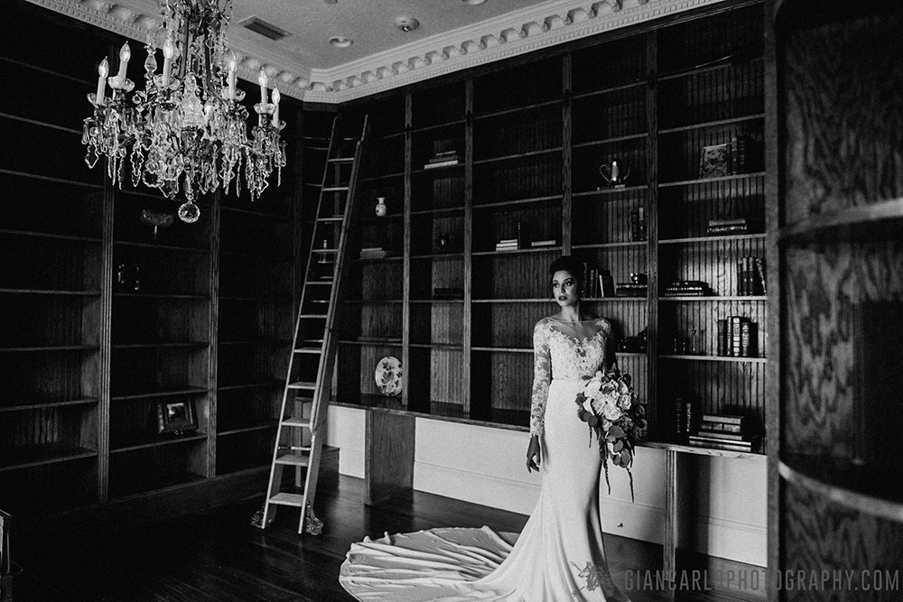 Luxmore Grande Estate, Central Florida Wedding Venue, Orlando Wedding Venue, Luxury Orlando Wedding, Ballroom Wedding, Bridal Gown, Black and White Bridal Portraits, Bridal Session, Waterfall Bridal Bouquet, Chandelier, Mermaid Bridal Gown