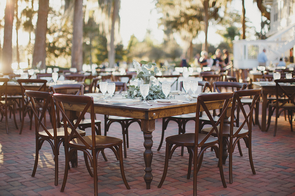 Cypress Grove Estate House, Orlando Wedding Venues, Outdoor Wedding, Lakeside Wedding, Farm Tables, RW Events, Vintage Rentals, Orlando Vintage Rentals, Square Farm Tables, French County Chairs, Gold Belmont chargers, Eucalyptus Centerpieces, Lakeside Reception, Outdoor Reception, Orlando Wedding Designer, Orlando Wedding Stylist
