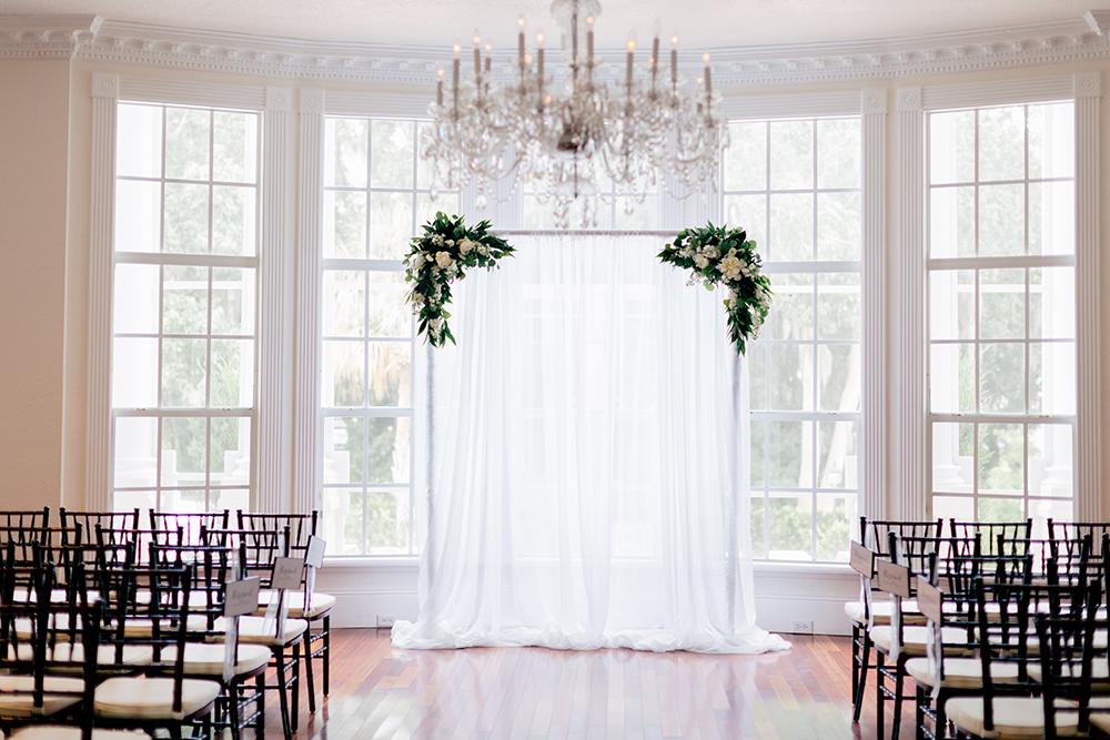 Ballroom ceremony, indoor ceremony, indoor venue, intimate wedding, bay window, elegant ceremony, White Ceremony Draping, Luxmore Grande Estate, Central Florida Wedding Venues