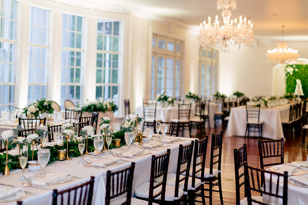 Luxury Wedding Indoor Venue Ballroom Reception Feasting Tables Mahogany Chiavari Chairs