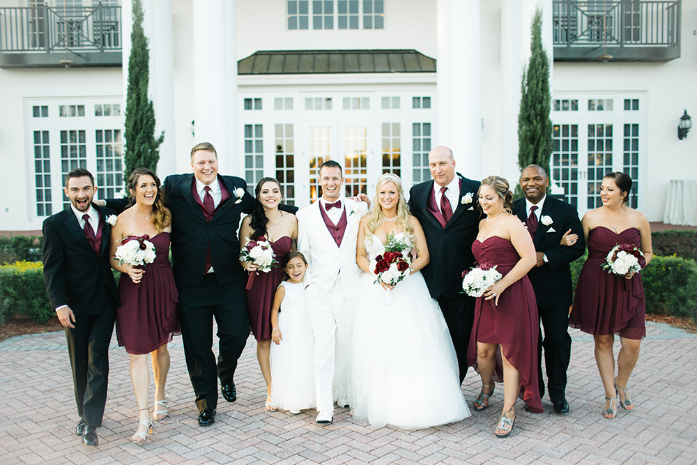 Luxmore Grande Estate, Central Florida Wedding Venue, Orlando Wedding Venue, Luxury Orlando Wedding, Ballroom Wedding, Private Estate Wedding, Bridal Party Photos, Burgundy Wedding Decor, Burgundy Bridesmaid Dresses, White Tuxedo
