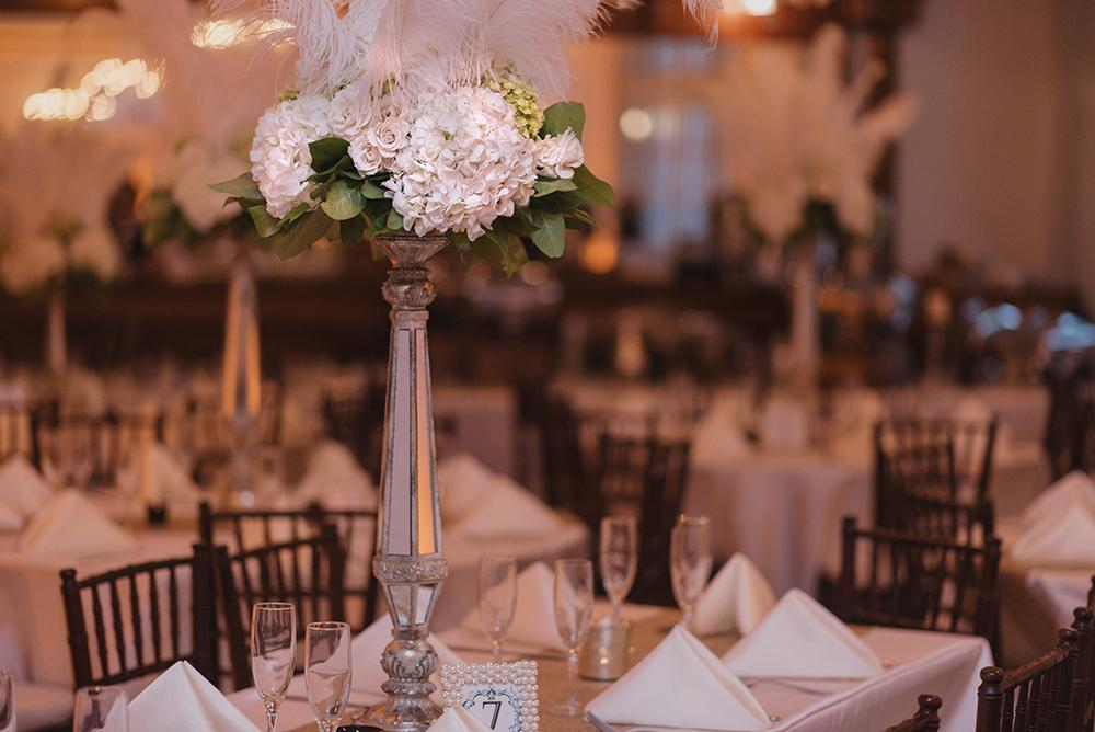 Luxmore Grande Estate, Central Florida Wedding Venue, Orlando Wedding Venue, Luxury Orlando Wedding, Ballroom Wedding, Hydrangea and Rose Centerpiece, Feather Centerpiece, All White Wedding Decor,