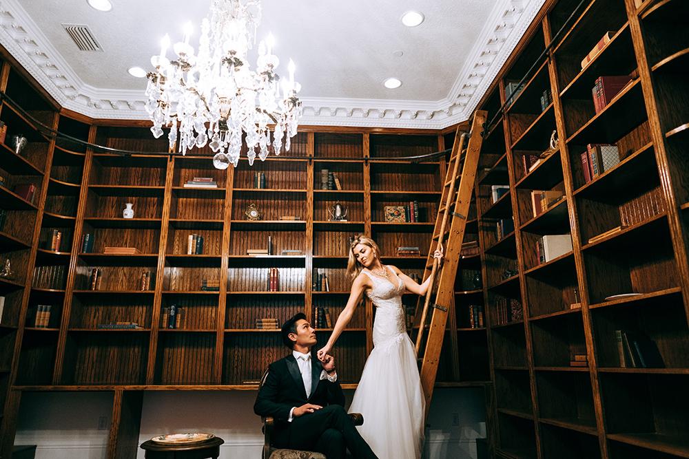 vintage library, luxury wedding venue, orlando wedding venue, central florida wedding venue, luxmore grande estate, bride and groom photos, couture wedding, bridal gown