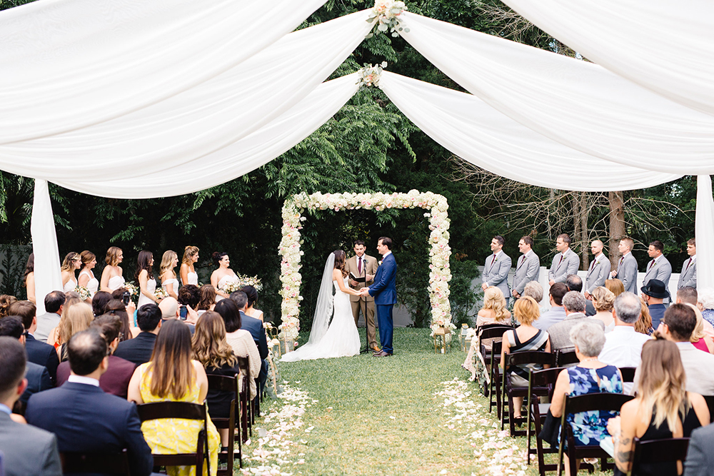 arden Wedding, outdoor venue, orlando wedding venue, ceremony draping, central florida wedding venues, backyard wedding, custom ceremony decor, luxmore grande estate, luxury wedding, aisle decor, flower petals