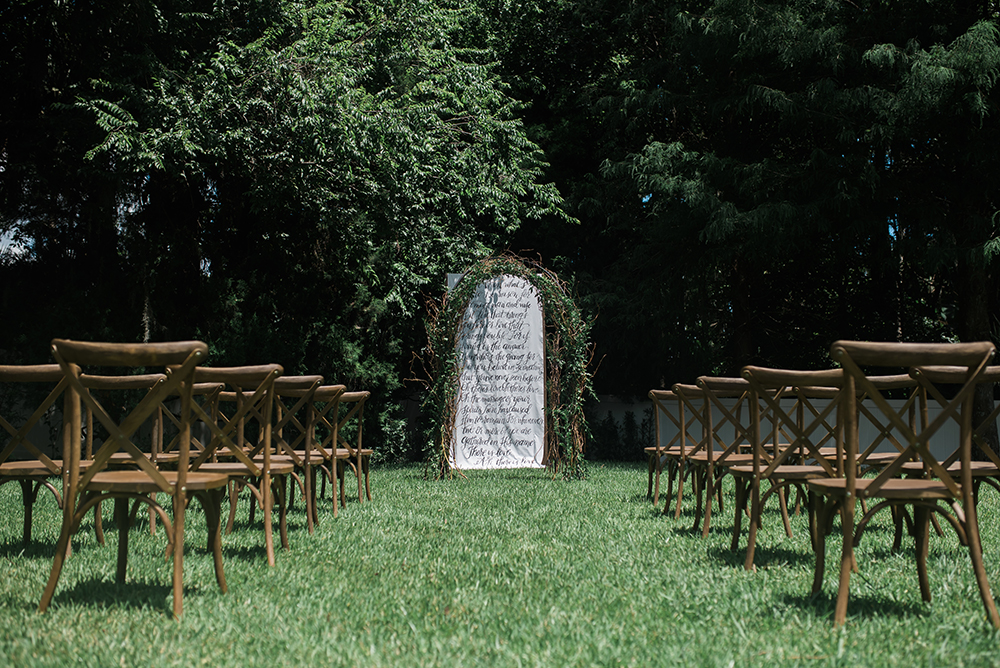Outdoor ceremony, french country chairs, orlando intimate ceremony