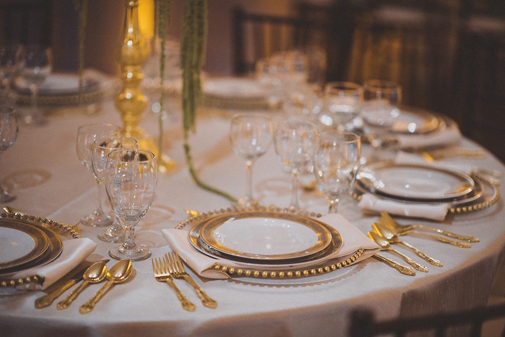 luxury reception, gold belmont charger, gold flatware, ballroom reception, luxury wedding, RW Events, Orlando Wedding Stylist, Orlando Wedding Designer, Orlando Vintage Rentals, Fine China