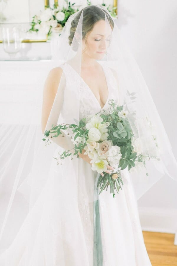 Bridal portraits in the Cypress Grove Estate House bridal suite are classic!