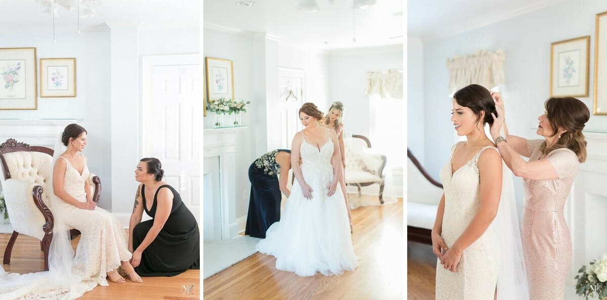 The bridal suite at Cypress Grove Estate house offers lots of natural light, making it an ideal location for bridal portraits.