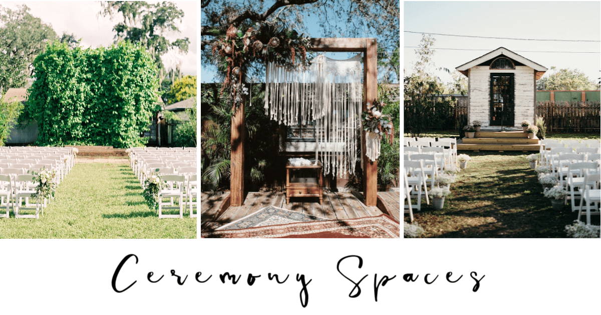 The Acre offers three outdoor ceremony locations, including The Stage, The Vine Wall, and The Tiny House.
