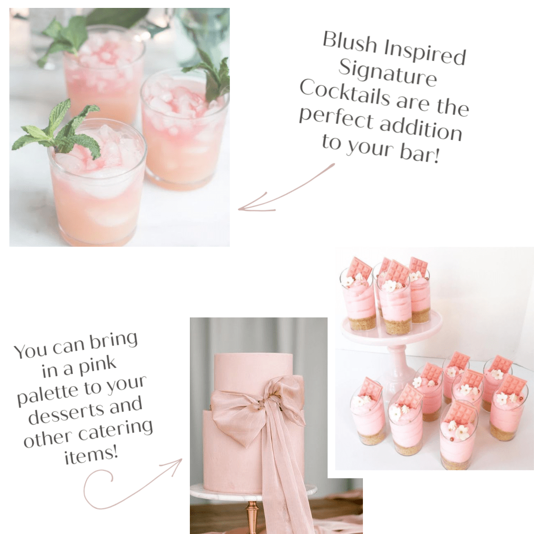 Blush cocktails, a wedding cake, and dessert shooters are a fun and unexpected way to incorporate color into your wedding day design.
