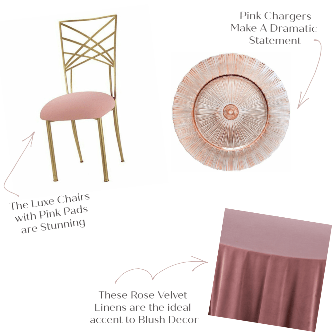Gold decor chairs with a blush pad, specialty chargers, and velvet linen all add a sense of romance and elegance.