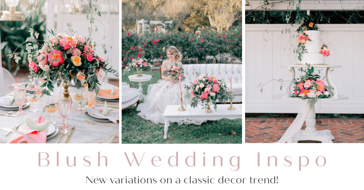 Blush Wedding Inspiration at Cypress Grove Estate House. Bold floral gives a stunning pop of color again a white backdrop.