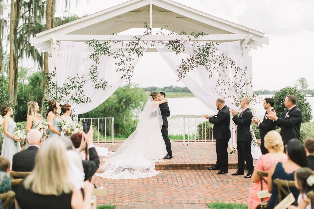 The Cypress Grove Estate House gazebo makes for a stunning ceremony backdrop!
