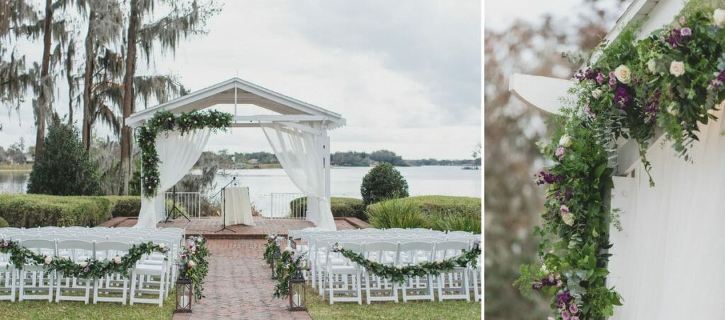 The Cypress Grove Estate House gazebo with white draping and greenery garland strung along the side.