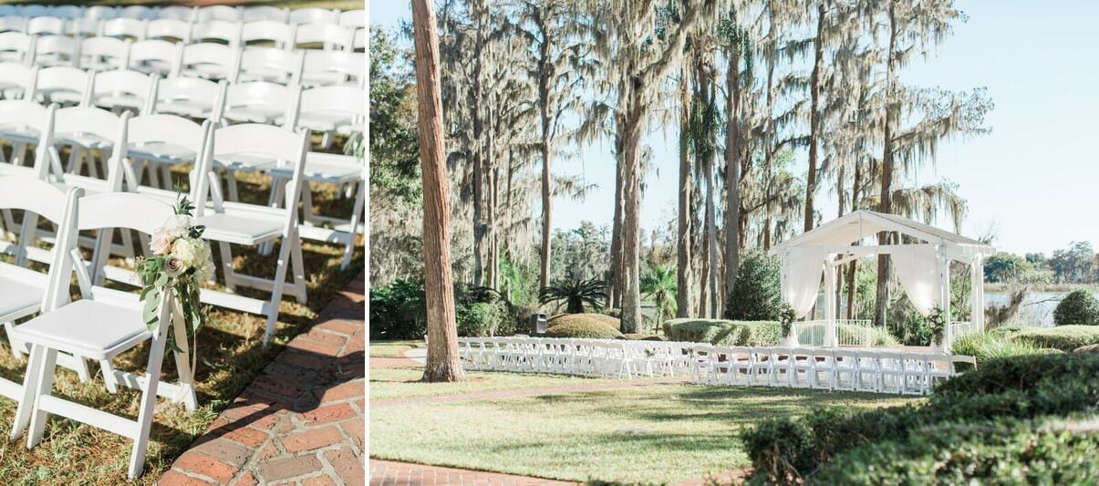 The ceremony backdrop at the Estate House sits on the cusp of Lake Jessamine and is surrounded by Cypress Trees dripping in Spanish Moss.