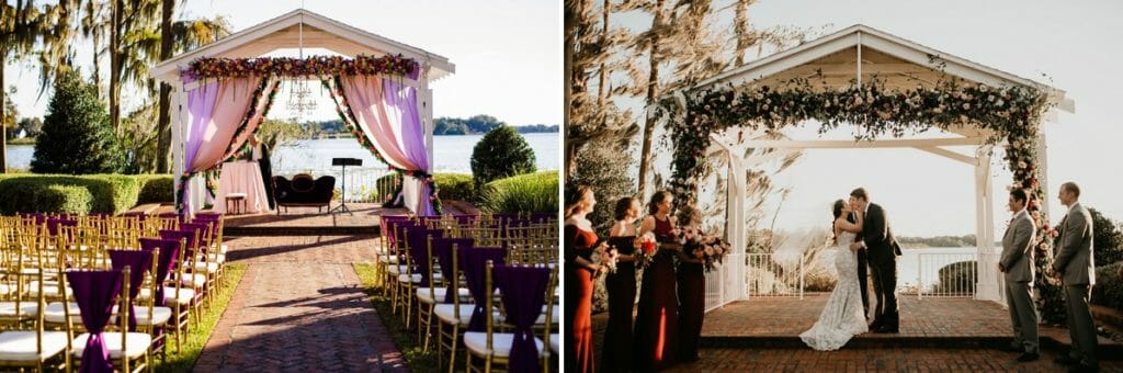The Cypress Grove Estate House gazebo adorned with colorful draping, floral garland, and specialty rentals for a cultural wedding.