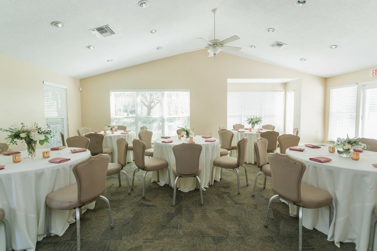 The main event room of the Grove House seats up to 50 people and comes with tables and chairs.